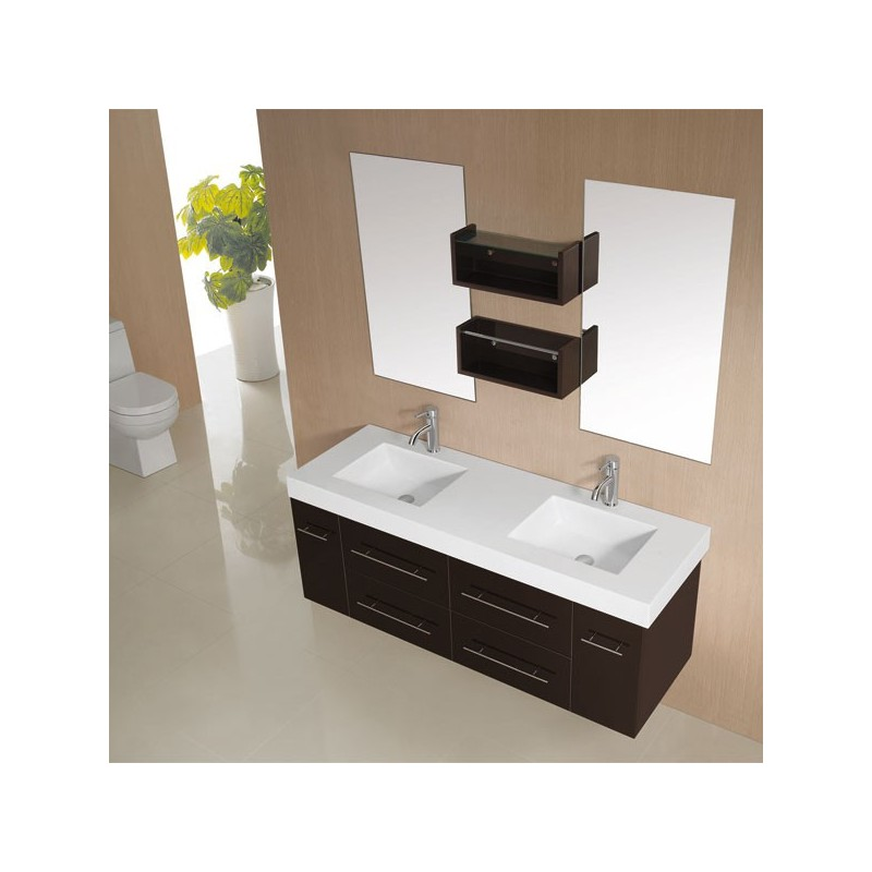 meuble salle de bain double vasque chocolat gloss sdg941c. Black Bedroom Furniture Sets. Home Design Ideas