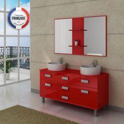 Meuble de salle de bain double vasque design meuble de salle de bain deux va - Salle de bain meuble rouge ...
