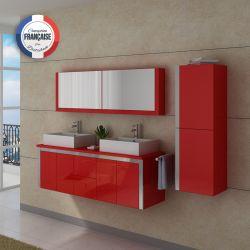 Meuble double vasque DIS026-1500 rouge Coquelicot avec vasques céramique