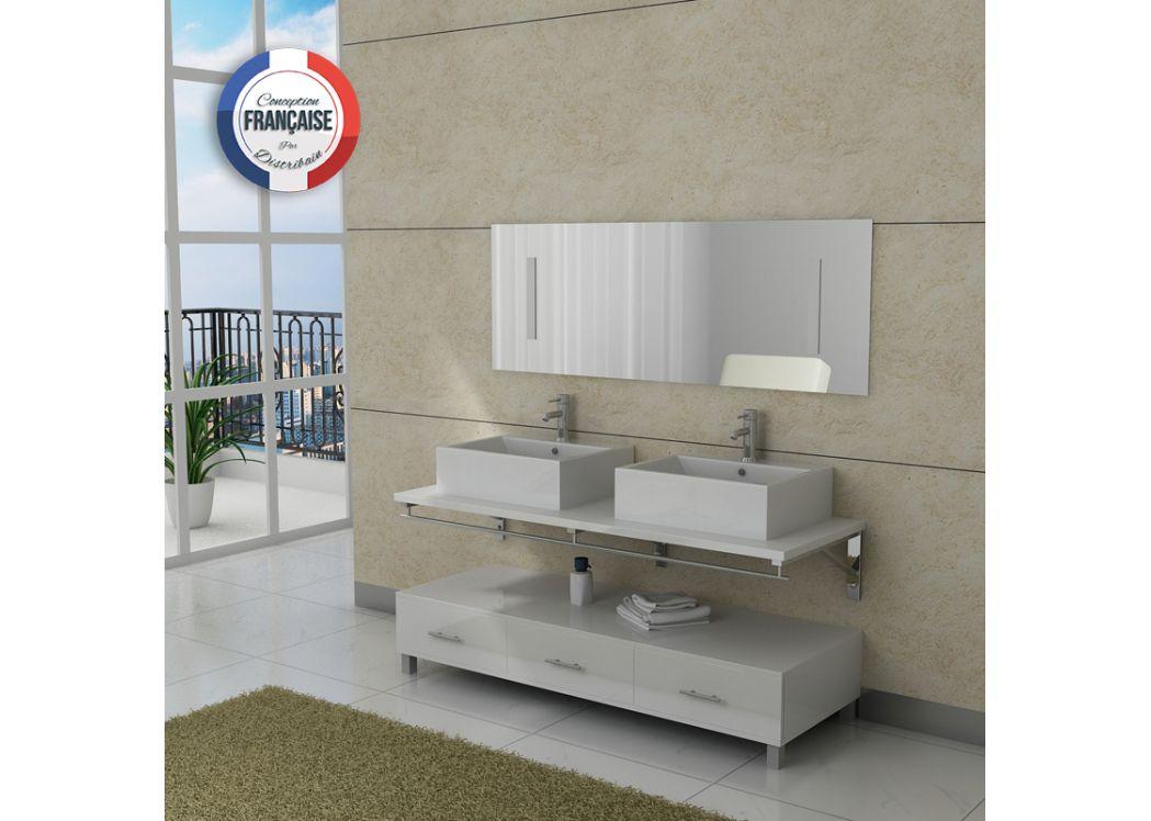 de bain > meuble double vasque > meuble double vasque dis985 blanc