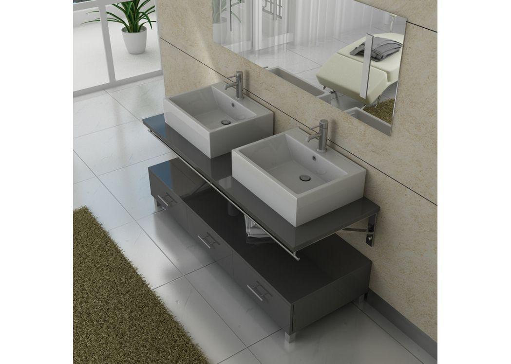 Meuble salle de bain double vasque dis985 gris - Meuble salle de bain double vasque gris ...