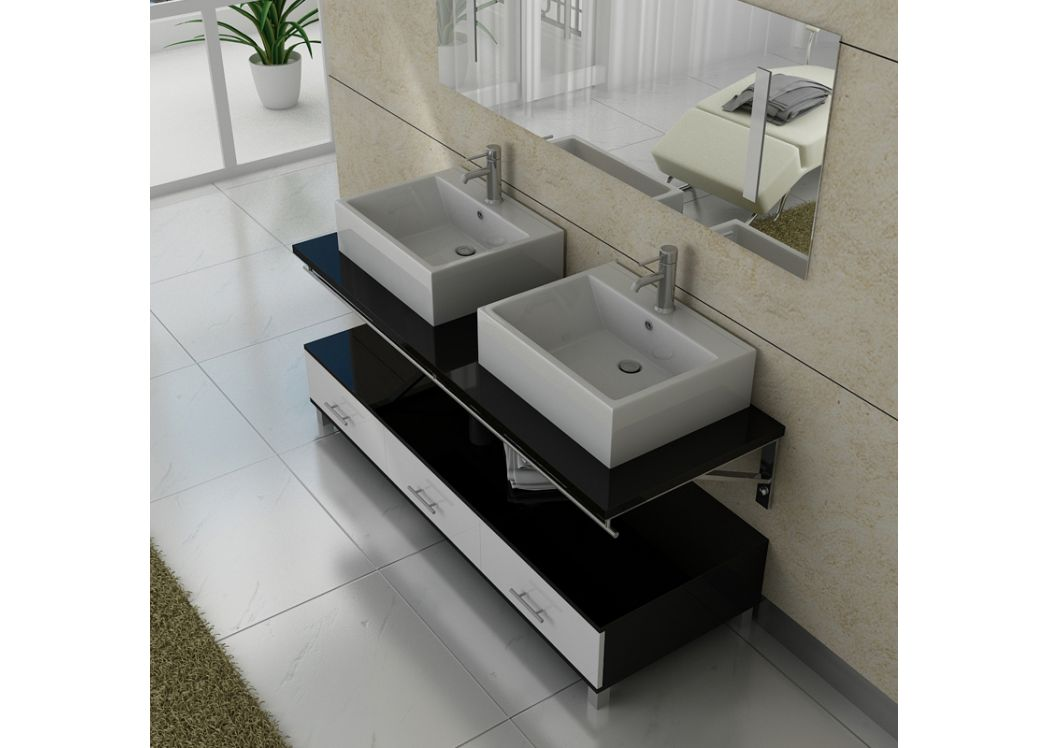 meuble salle de bain double vasque dis985 noir et blanc. Black Bedroom Furniture Sets. Home Design Ideas