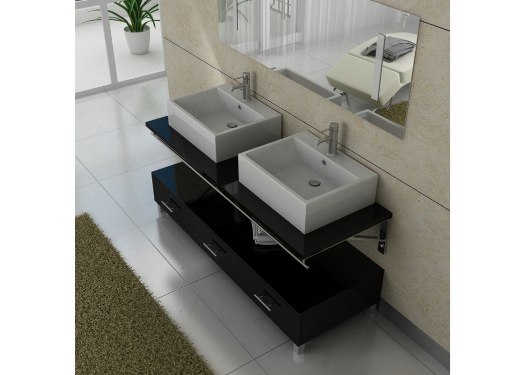 meuble salle de bain double vasque dis985 noir. Black Bedroom Furniture Sets. Home Design Ideas