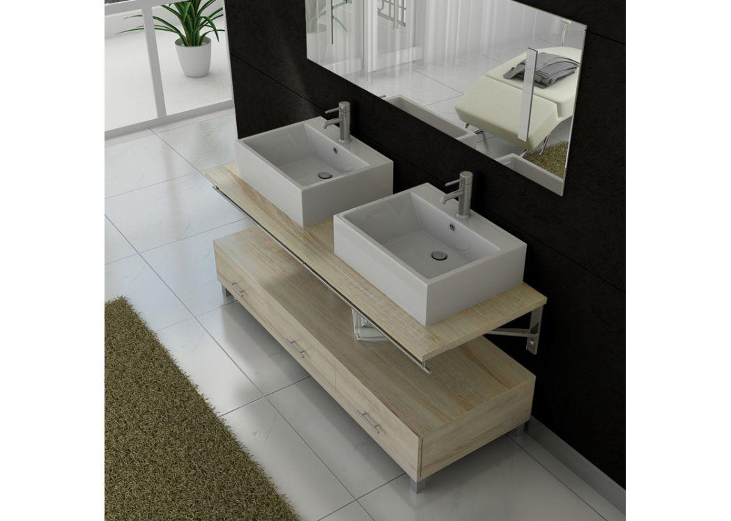 Meuble salle de bain double vasque dis985 teinte bois clair - Bain scandinave prix ...