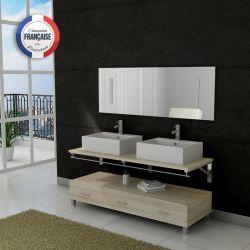 Meuble de salle de bain double vasque teinte scandinave