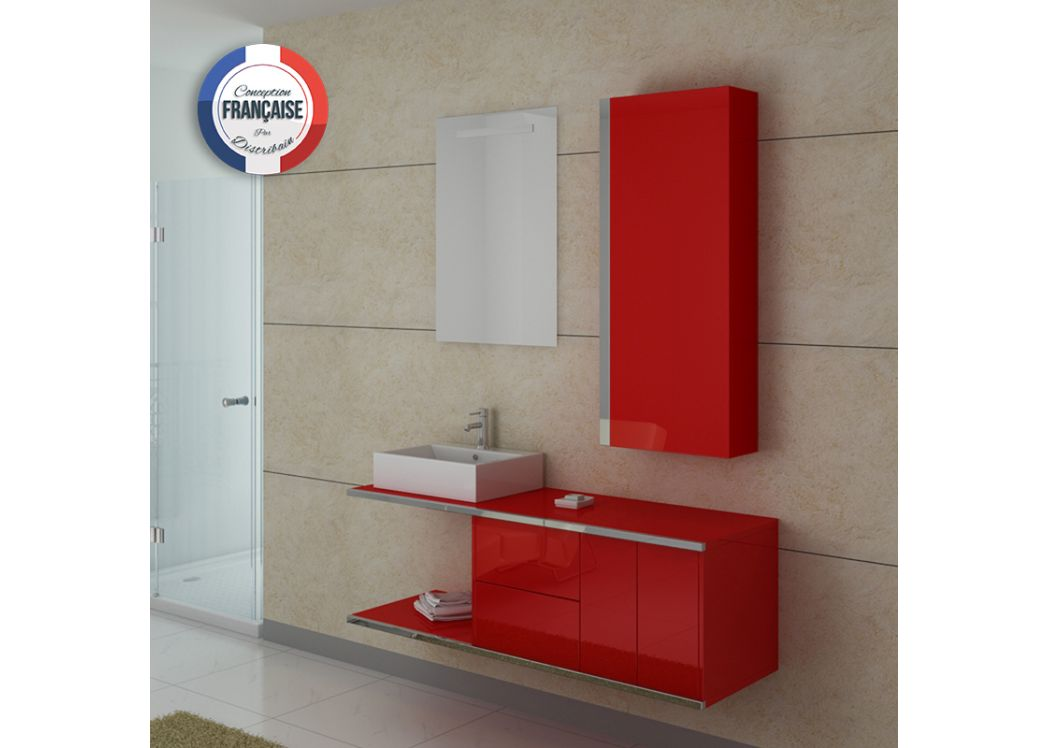 Meuble de salle de bain simple vasque rouge coquelicot for Meuble vasque simple