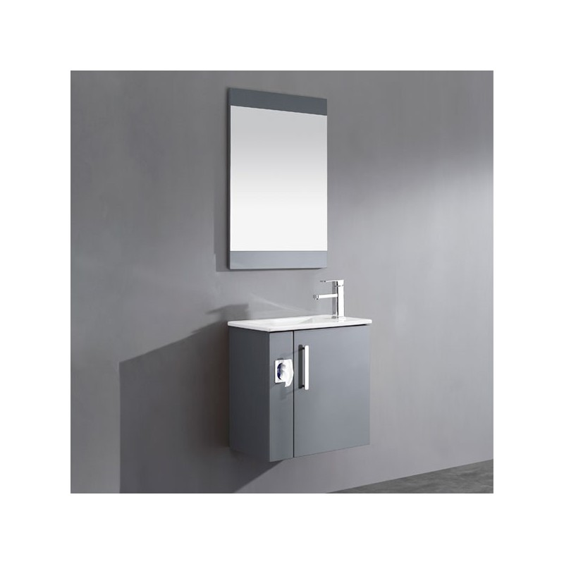 Meuble salle de bain simple vasque gris anthracite sd092 550aga - Meuble simple vasque ...