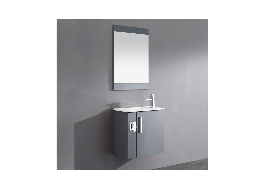 Meuble salle de bain simple vasque gris anthracite sd092 for Meuble vasque simple