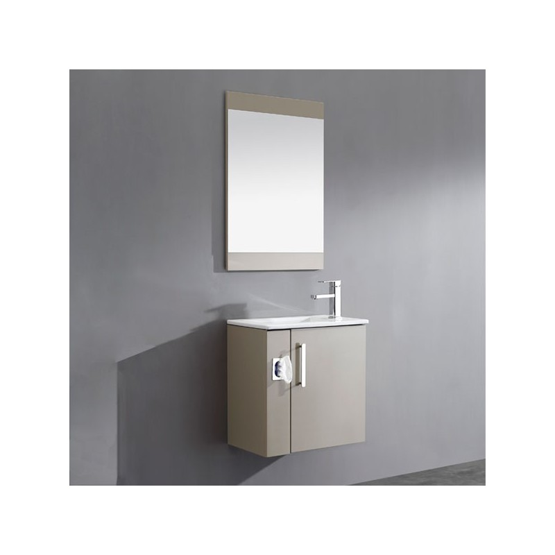 Meuble salle de bain simple vasque marron glac sd092 550amg for Glace salle de bain