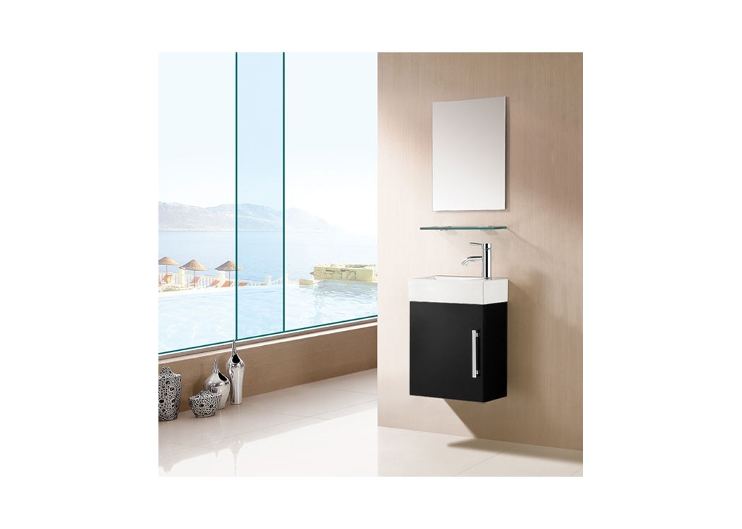 Meuble salle de bain noir sd960n for Meuble vasque simple
