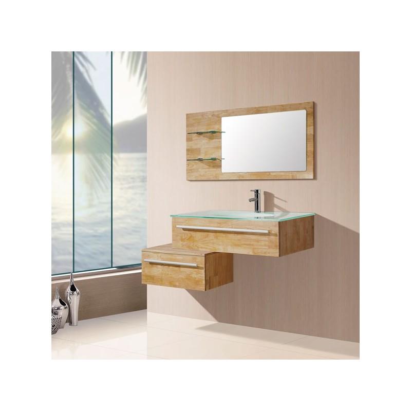 Meuble salle de bain bois naturel sd682bn - Meuble vasque simple ...