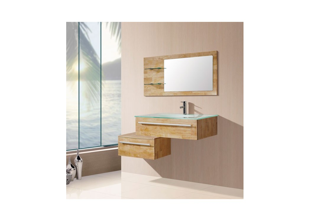 Meuble salle de bain bois naturel sd682bn for Meuble vasque simple