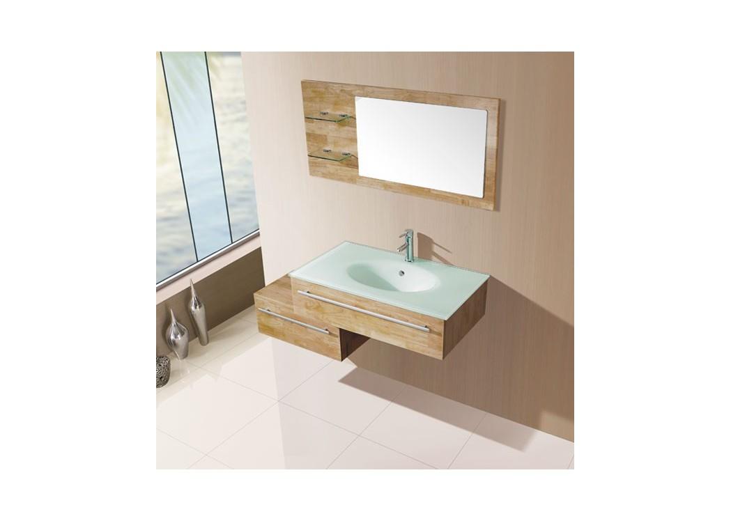Meuble Simple Vasque Bois - Meuble salle de bain bois naturel SD682BN