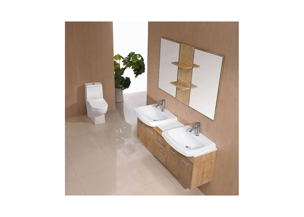 Meuble salle de bain bois naturel sd693bn for Meuble en bois naturel