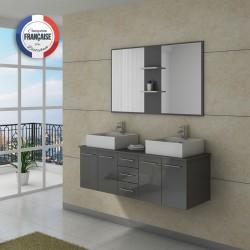 Meuble de salle de bain double vasque Gris taupe