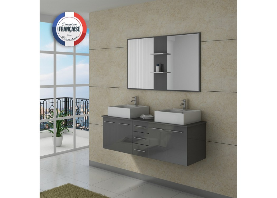 Meuble double vasque dis982gt - Meuble salle de bain double vasque gris ...