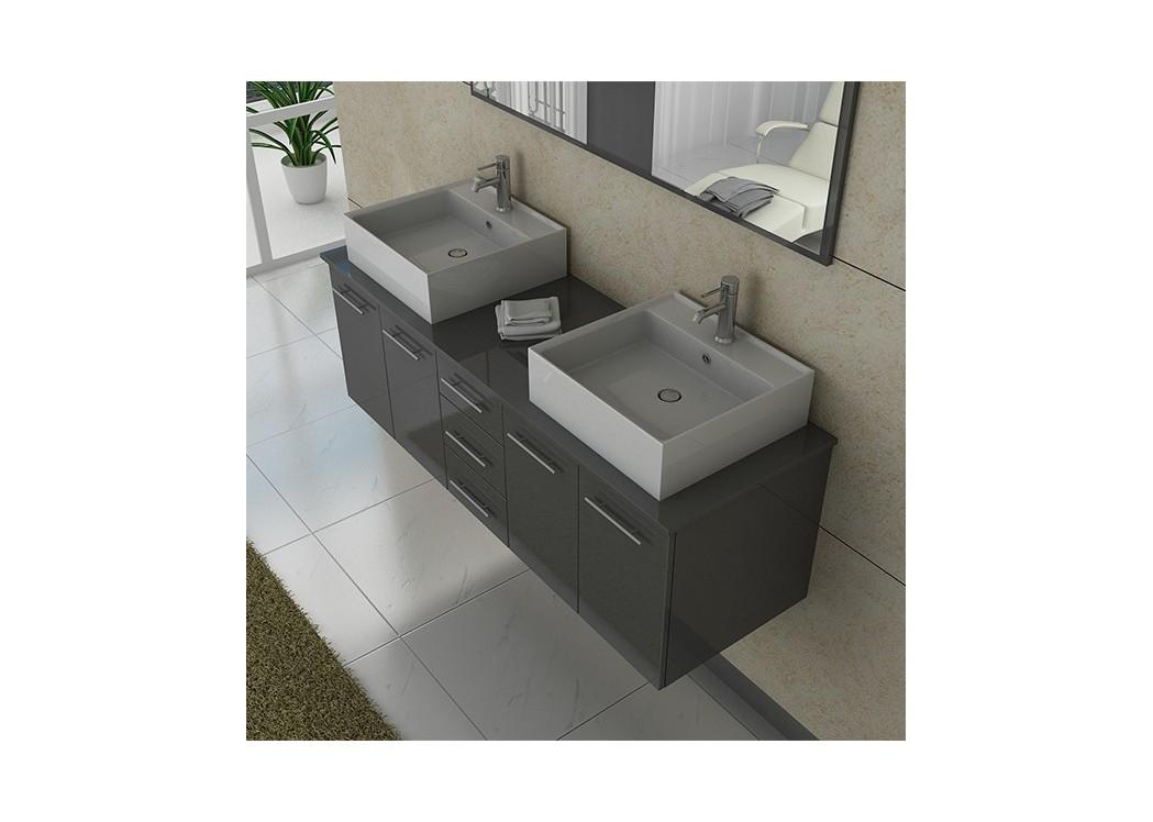 Meuble double vasque dis982gt - Meuble de salle de bain taupe ...