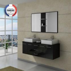 Meuble de salle de bain double vasque noir