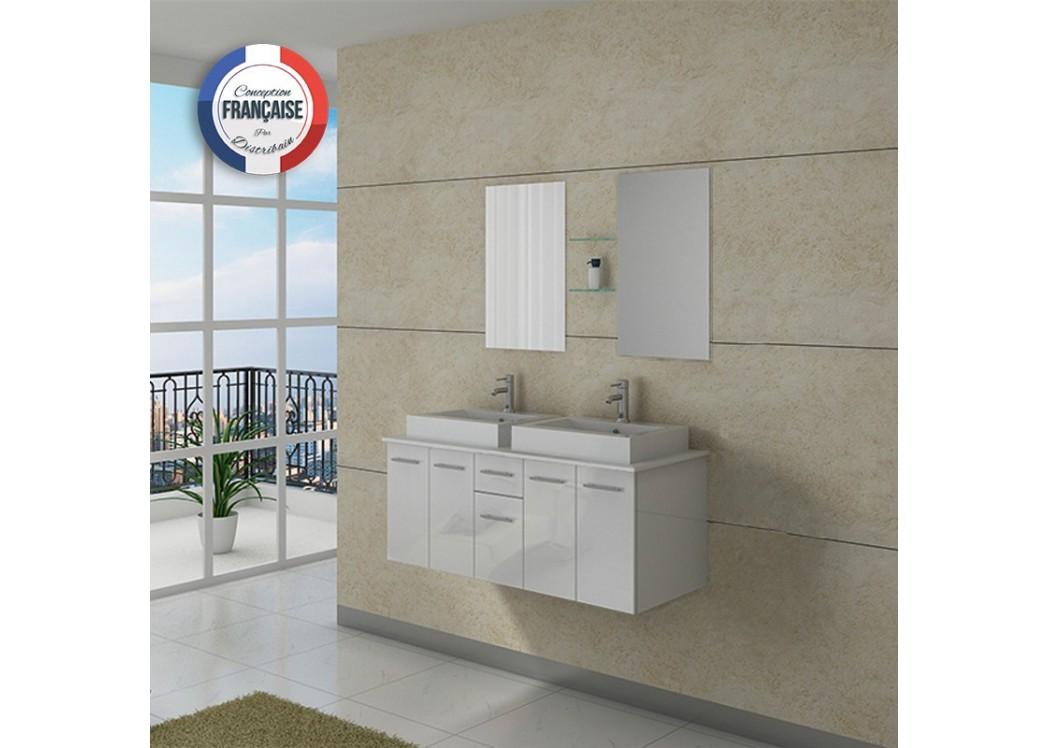 Meuble double vasque dis981b for Meuble vasque salle de bain blanc