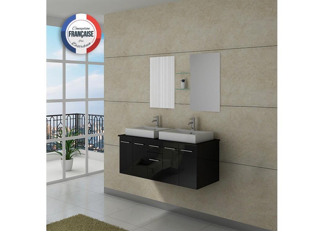 Meuble double vasque dis981n - Meuble salle de bain double vasque noir ...