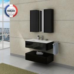 Meuble de salle de bain simple vasque noir à suspendre