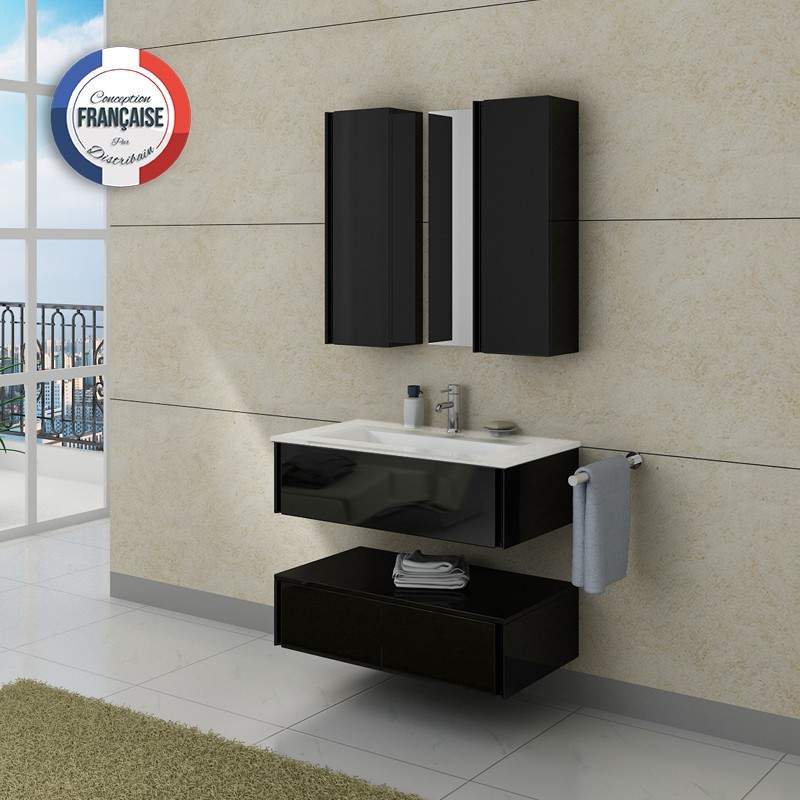 Meuble de salle de bain simple vasque noir dis987n for Meuble vasque simple