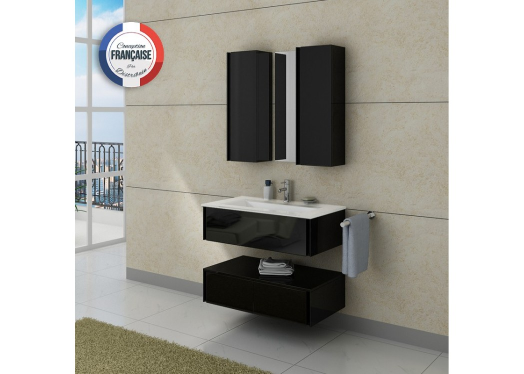 Meuble de salle de bain simple vasque noir dis987n - Meuble simple vasque ...