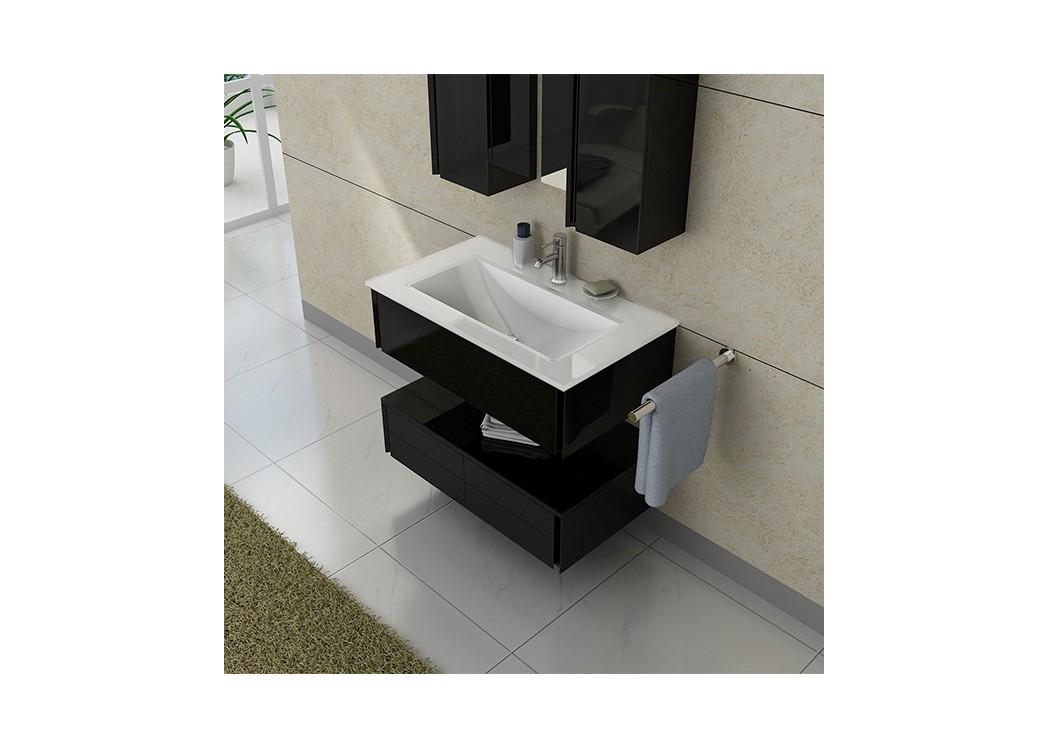 Meuble de salle de bain simple vasque noir dis987n - Meuble salle de bain vasque noire ...