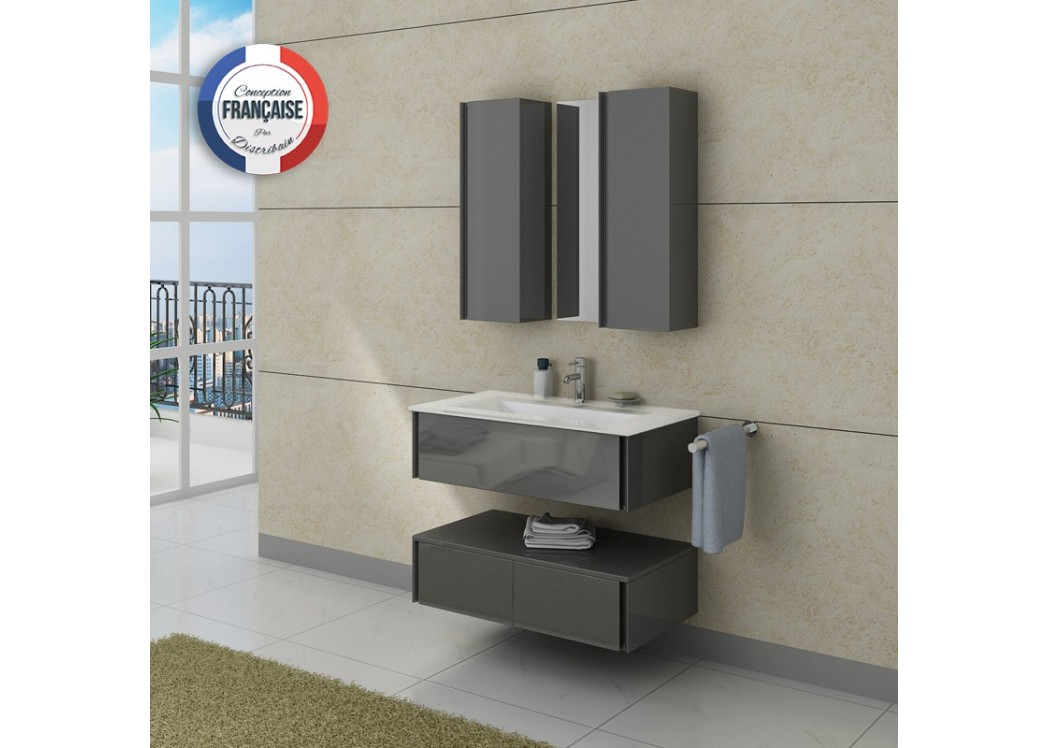 Meuble de salle de bain simple vasque gris dis987gt for Meuble vasque simple