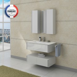 Meuble de salle de bain simple vasque Blanc à suspendre