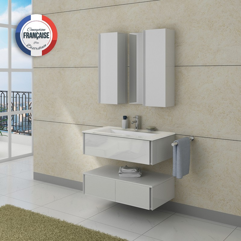Meuble de salle de bain simple vasque blanc dis987b for Meuble vasque simple