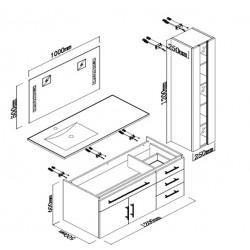 DIS025-1500GT Meuble salle de bain Gris taupe