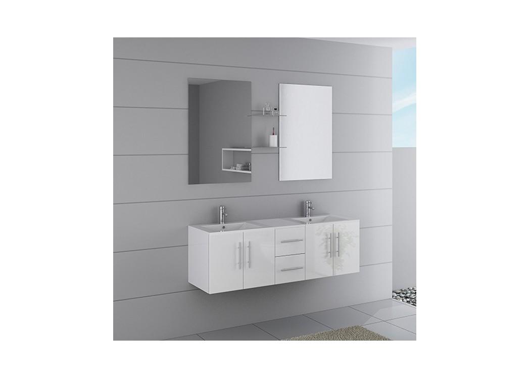 Meuble double vasque dis1500b for Meuble vasque salle de bain blanc