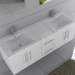 Ensemble meubles double vasque blanc DIS9350B