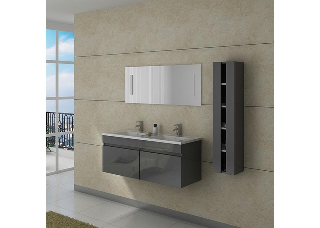 Meuble double vasque dis980gt - Meuble salle de bain double vasque gris ...