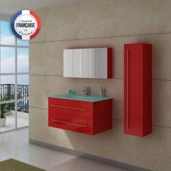 Meuble de salle de bain simple vasque rouge coquelicot