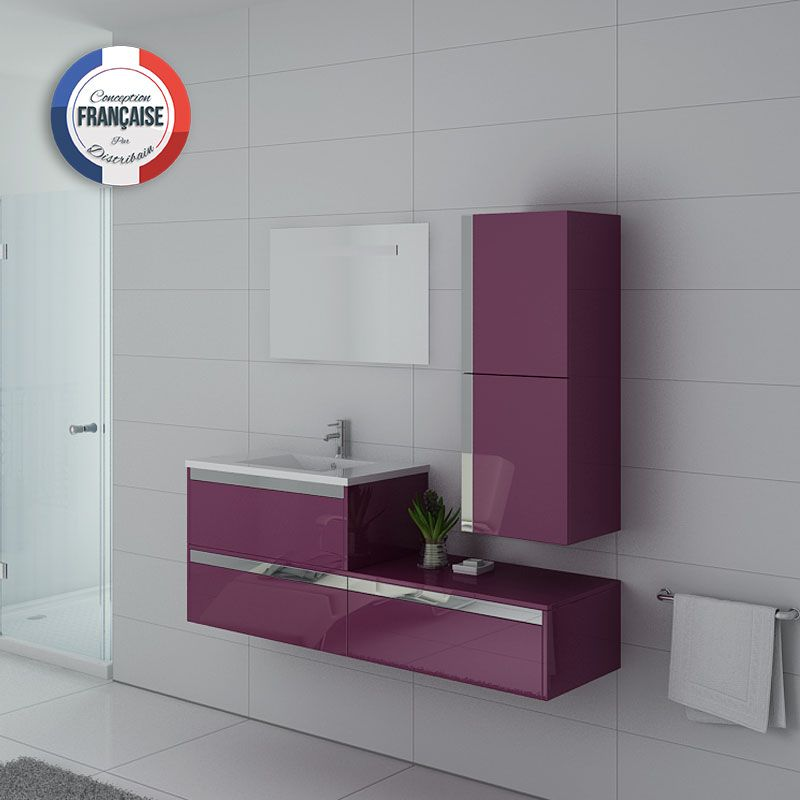 Meuble simple vasque SUBLISSIMO Aubergine