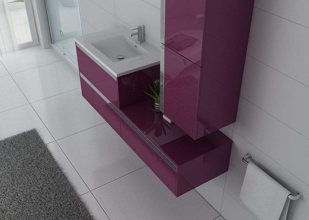 meuble de salle de bain 1 vasque aubergine sublissimo. Black Bedroom Furniture Sets. Home Design Ideas