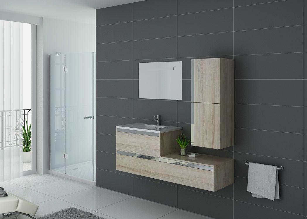 Meuble de salle de bain 1 vasque suspendu couleur bois sublissimo scandinave distribain - Meuble salle de bain simple vasque ...