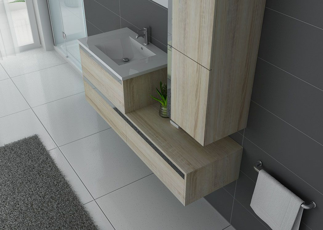 Meuble de salle de bain 1 vasque suspendu couleur bois sublissimo scandinave distribain - Meuble 1 vasque ...