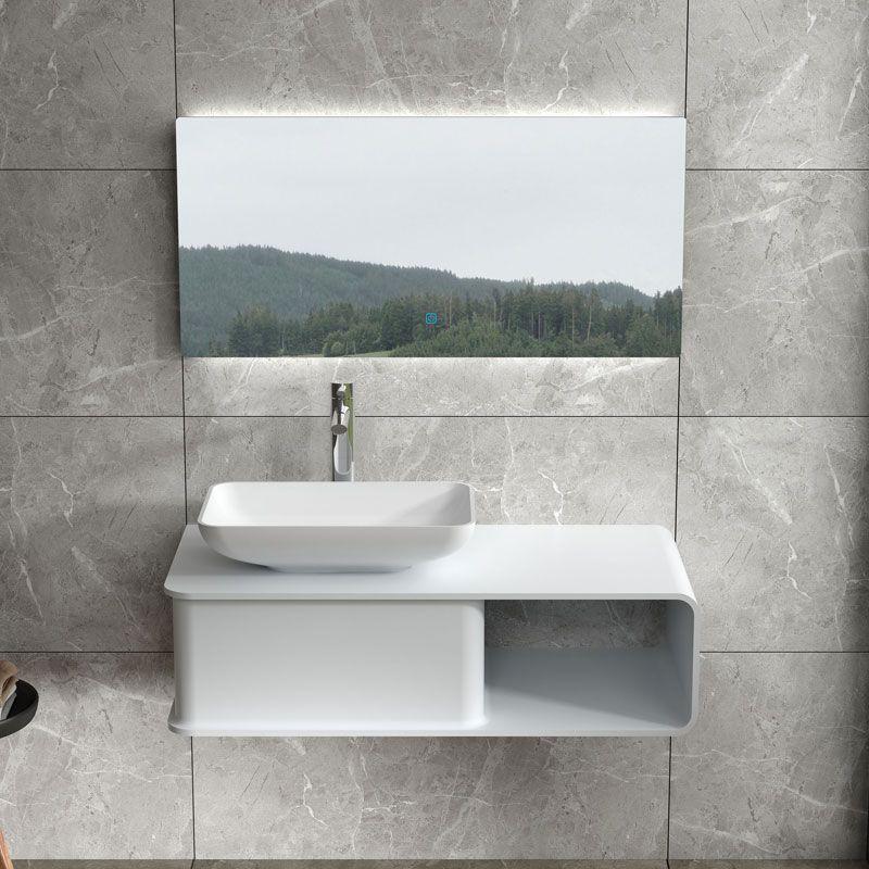 plan de toilette suspendu SDVP6L et vasque rectangulaire SDVP4