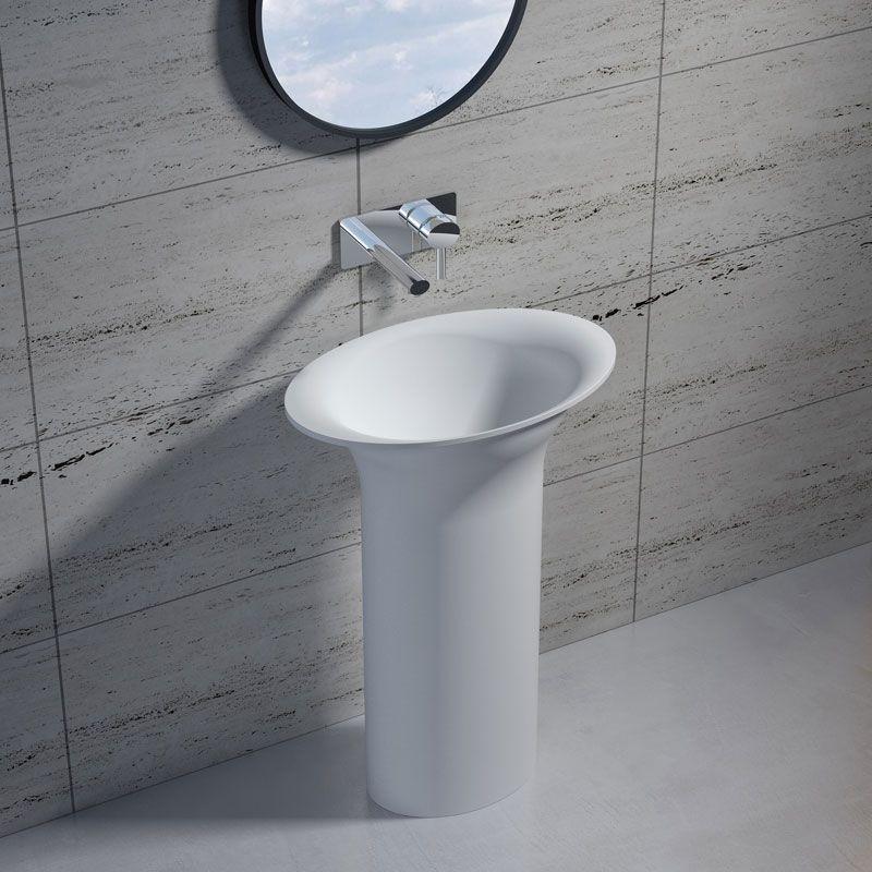 Vasque Totem sur pied en solid surface Réf : SDV21
