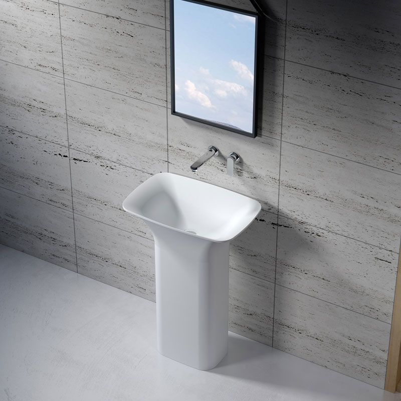 Lavabo colonne rectangulaire en solid surface SDV26