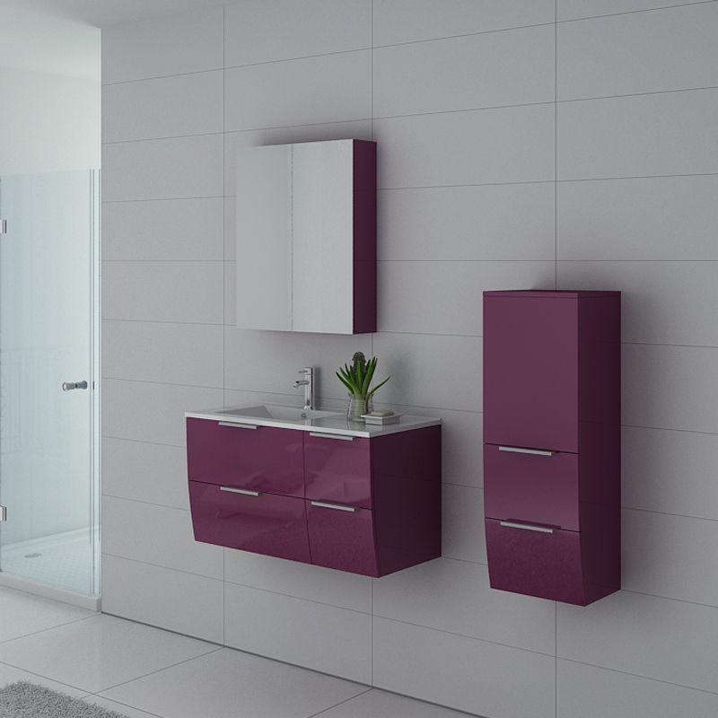 Meuble simple vasque couleur Aubergine PARME AU