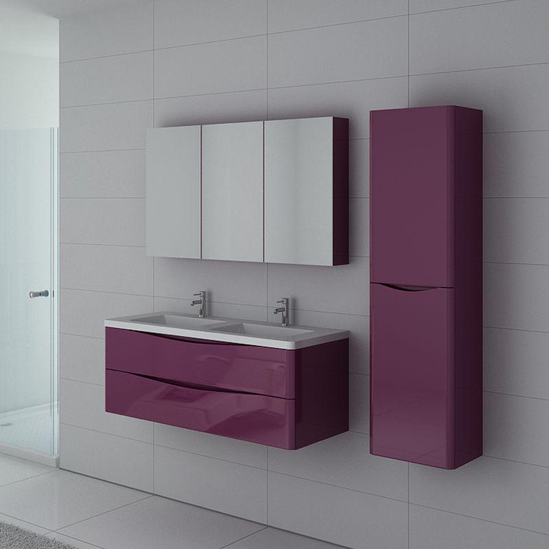 vasque avec colonne Ensemble de salle de bain double vasque TREVISE couleur aubergine, meuble  de salle de bain deux vasques avec colonne et armoire