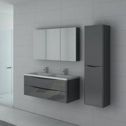 Meuble de salle de bain double vasque TREVISE Gris Taupe