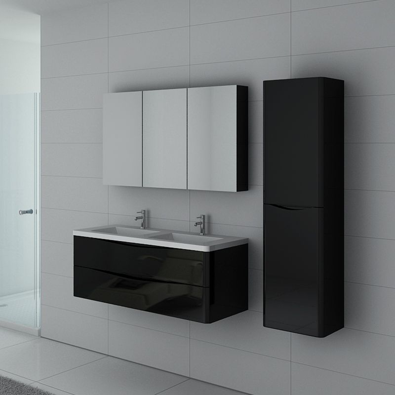Ensemble de salle de bain double vasque TREVISE noir, meuble de salle de  bain deux vasques avec colonne et armoire