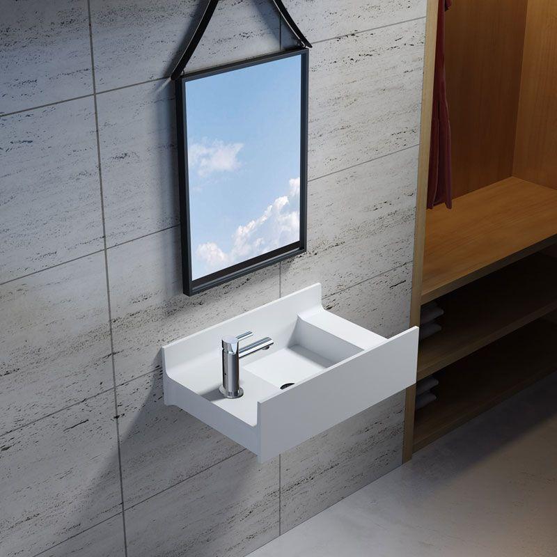 Petite vasque de salle de bain en solid surface, vasque de petite taille  version gauche - Distribain