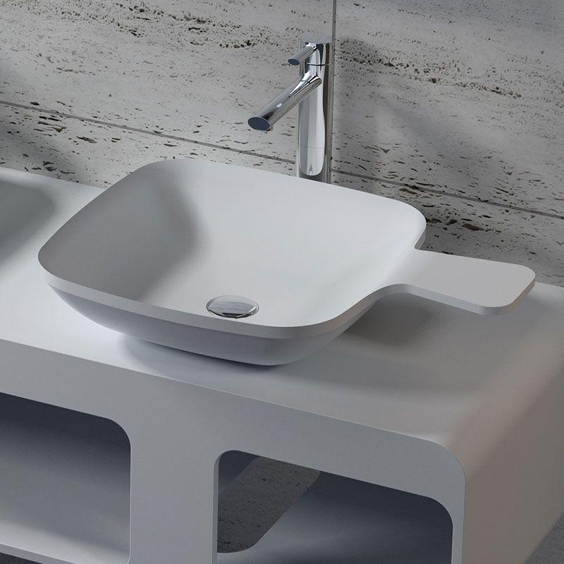 vasque carree Vasque carrée à poser cuillère, vasque carrée de salle de bain en solid  surface SDV13 - Distribain