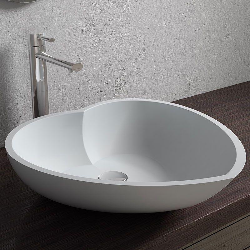 Vasque A Poser Blanche Vasque Coeur En Solid Surface Sdv17
